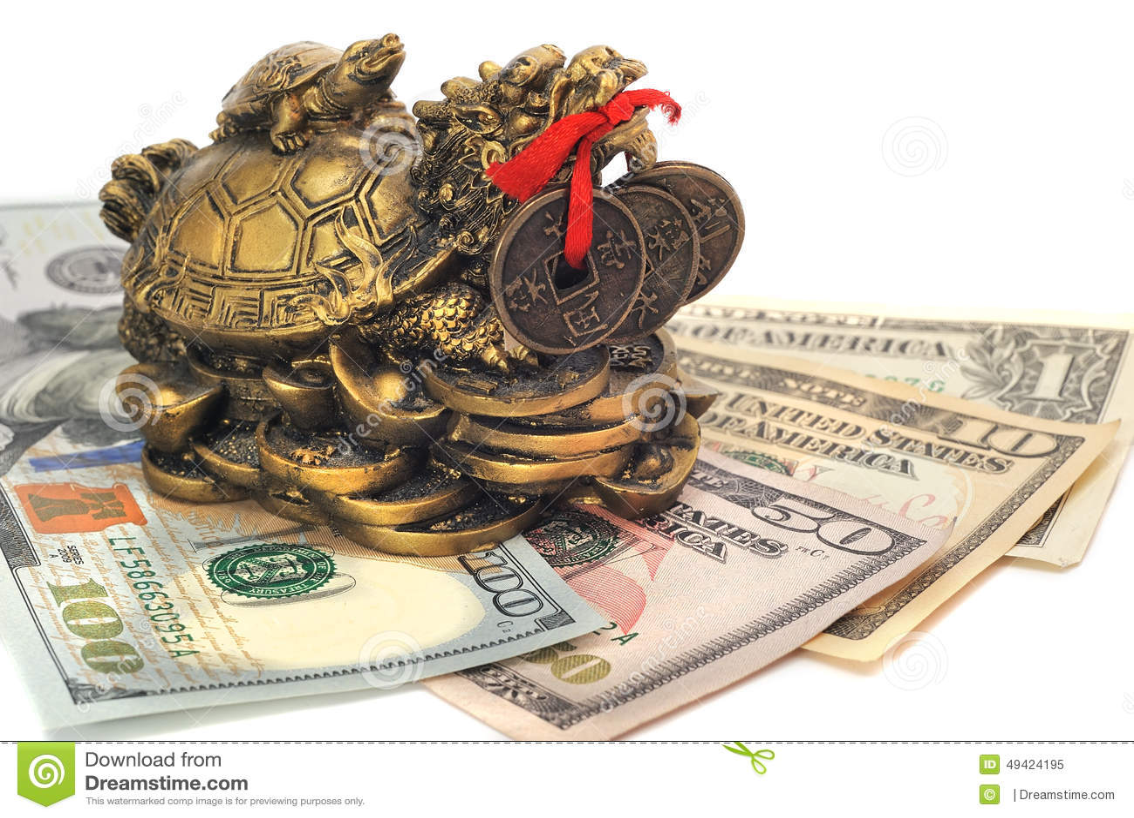 Chinese Dragon Turtle Symbol Of Money On The Bills Stock Image