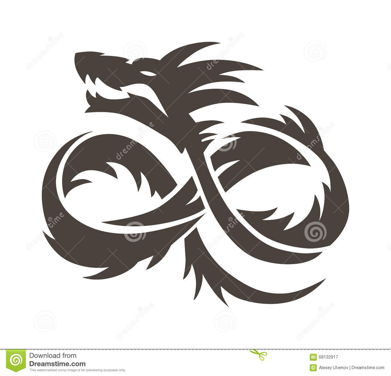 Chinese Dragon On White Background Vector Illustration Stock Vector