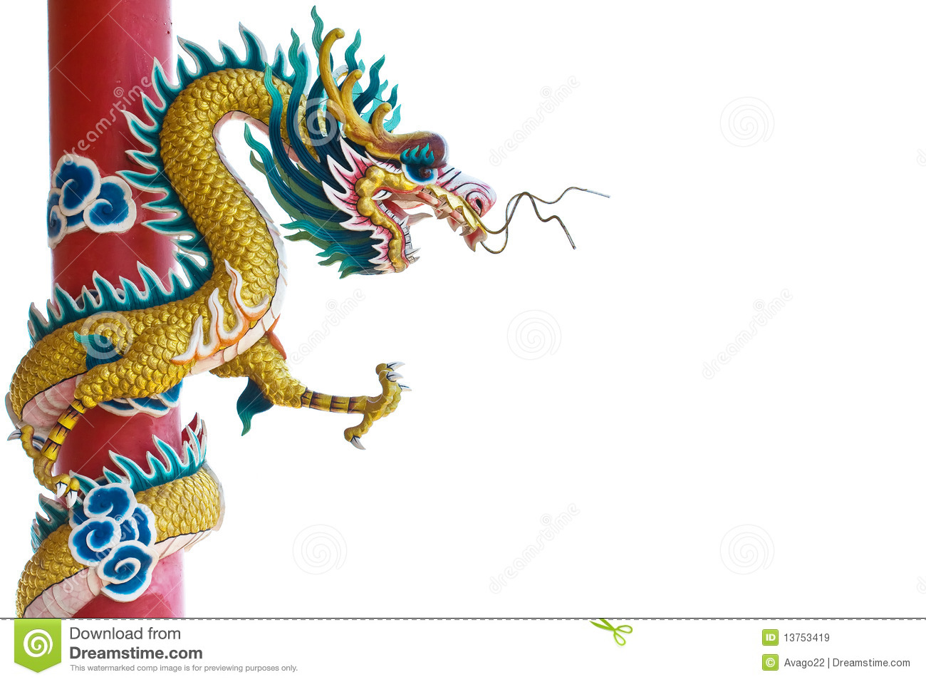Chinese dragon on white backgrounds.
