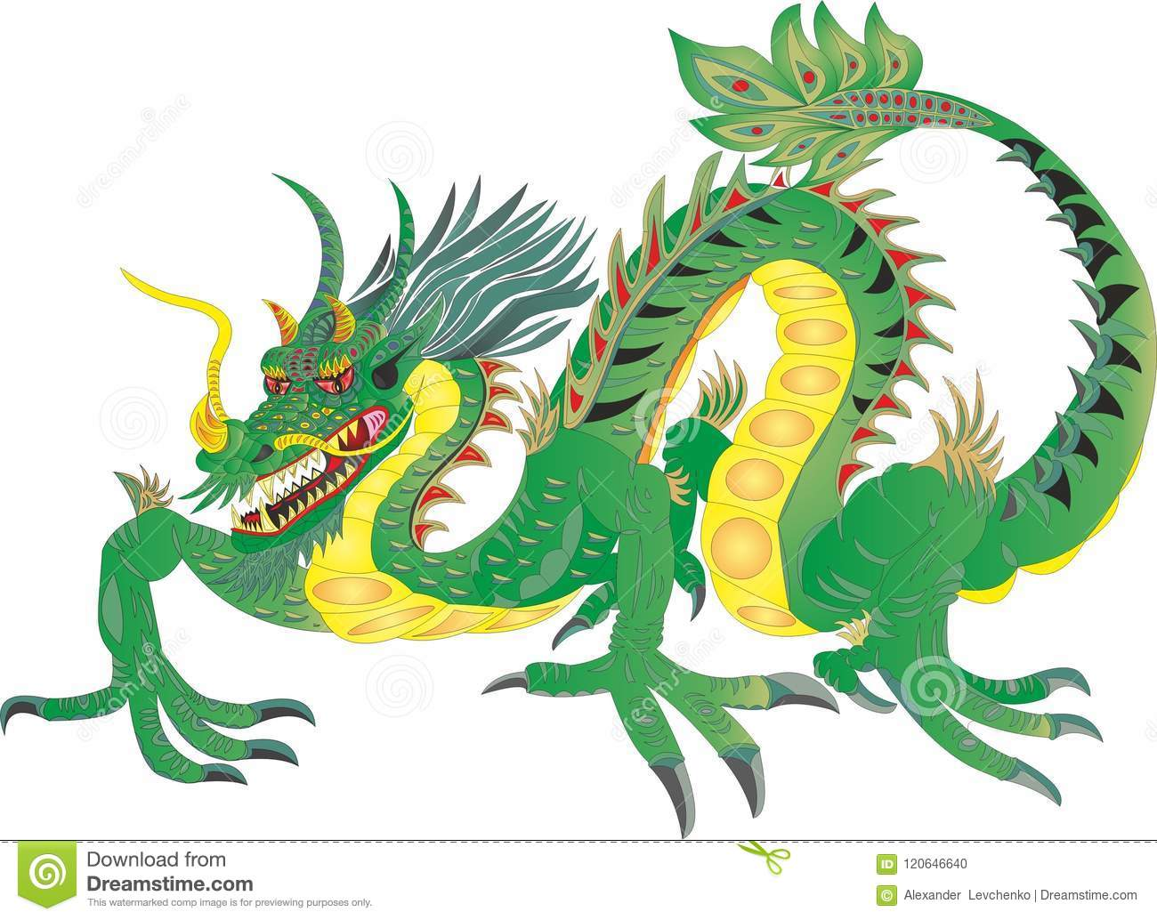 Dragon Fiern Chinese National Symbol China Stock Illustration