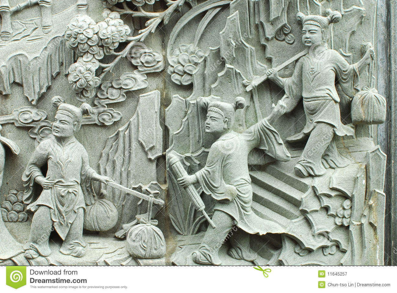 Chinese fable by stone carving stock image