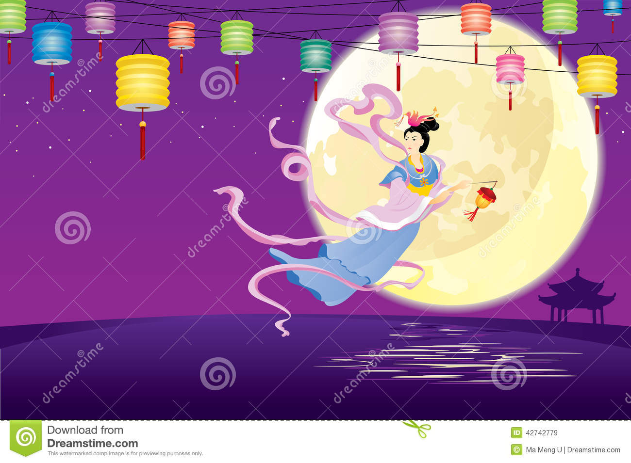Chinese Fairy flying to the moon illustration