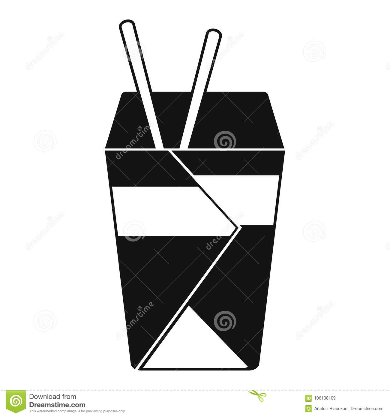 Chinese Fast Food Icon Simple Black Style Stock Vector