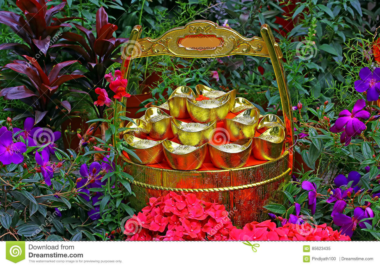 Chinese feng shui gold ingots and wealth pot