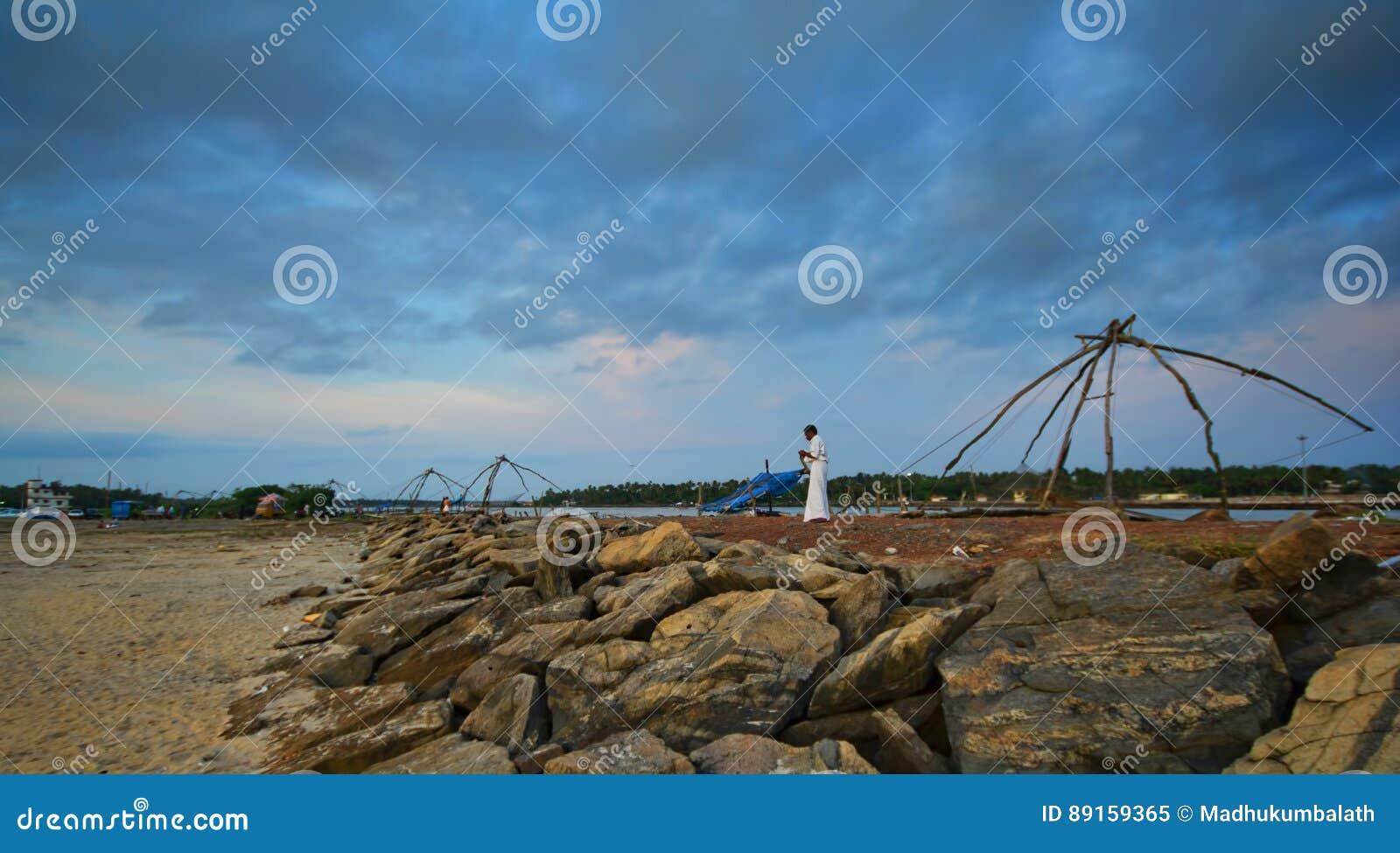Chinese Fishing net at sea shore