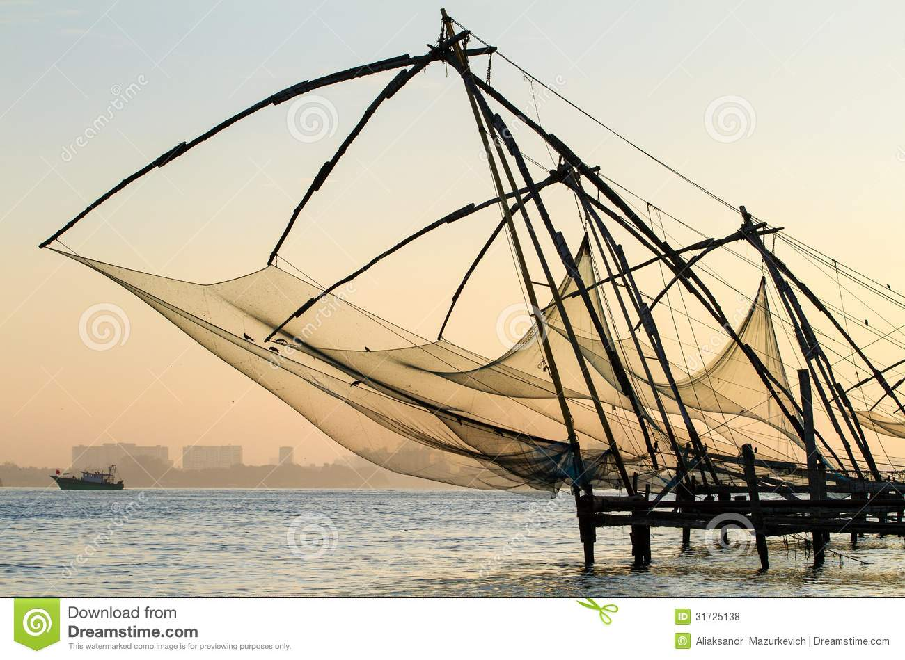 Chinese fishing net at sunrise in Cochin