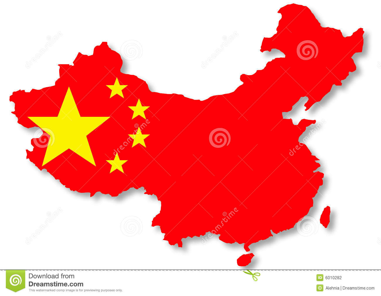 Chinese Flag On Country Map Illustration Stock Illustration