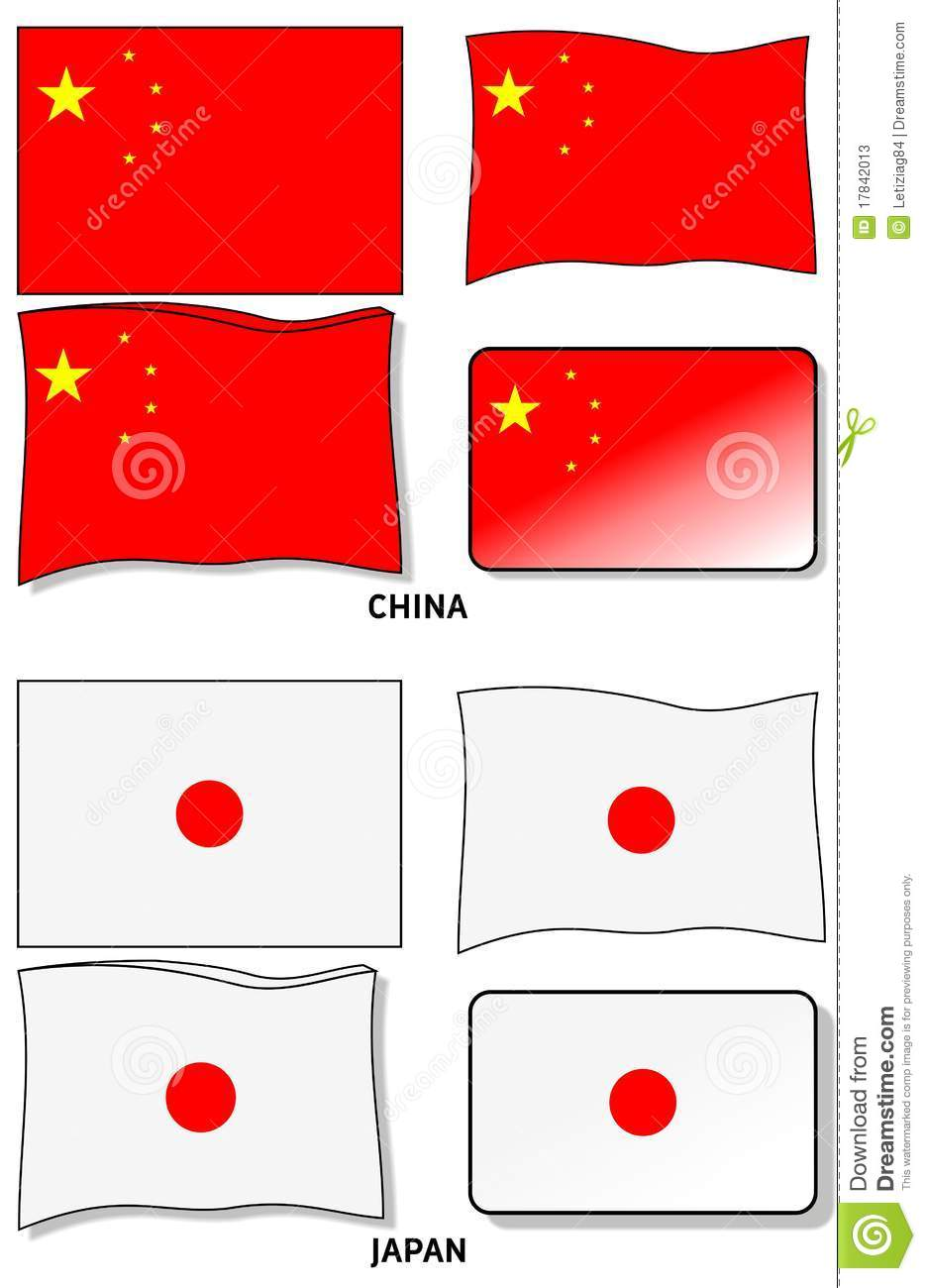 chinese flag and japanese flag stock photos image 17842013