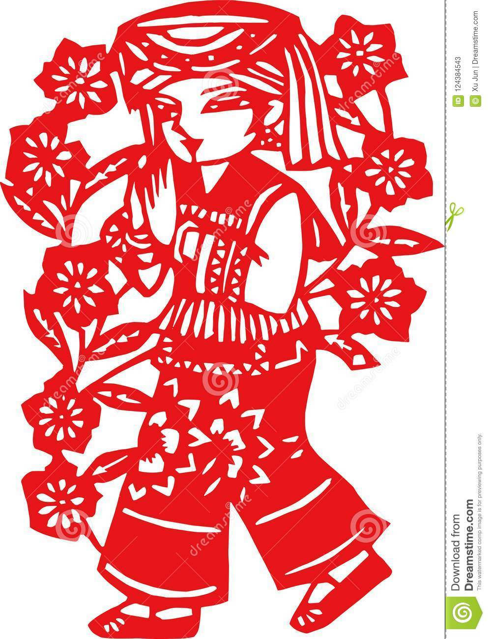 Paper Cut Patterns Of Chinese Ethnic Songs And Dances Stock