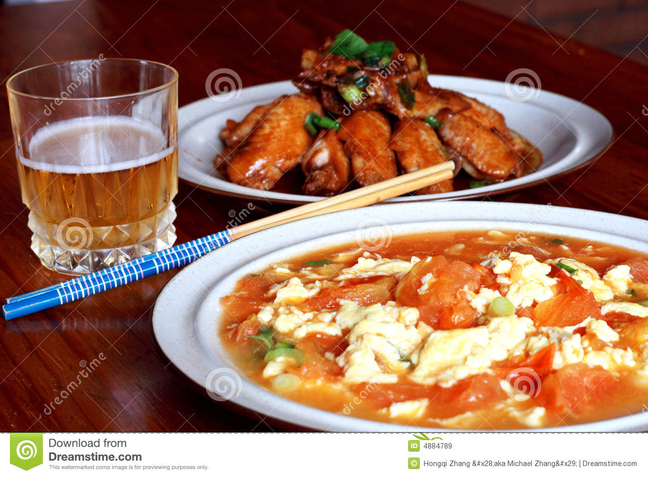 Chinese Food And Beer Royalty Free Stock Images Image