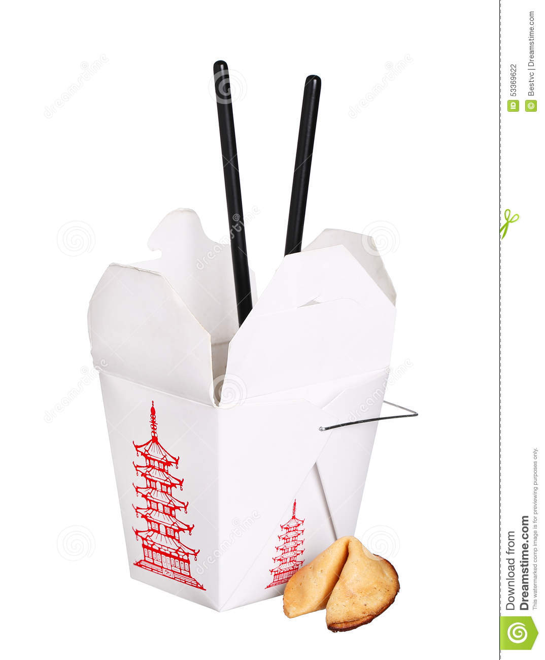 chinese food box container with fortune cookie and Fortune Cookie Cartoon Chinese Food Clip Art