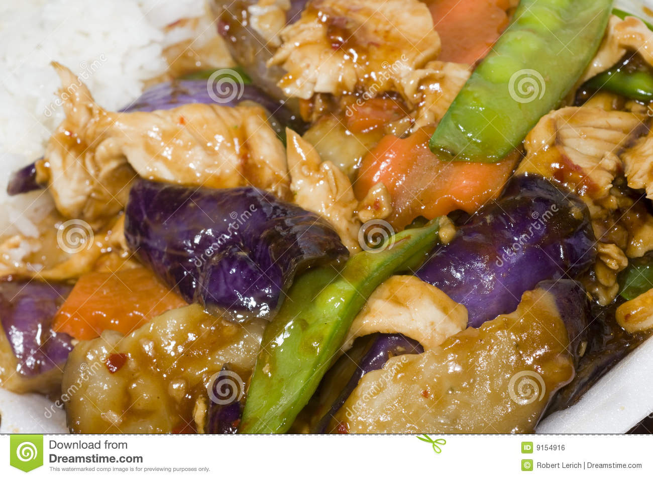 Chinese food chicken eggplant vegetables stock photo for Aubergine cuisine