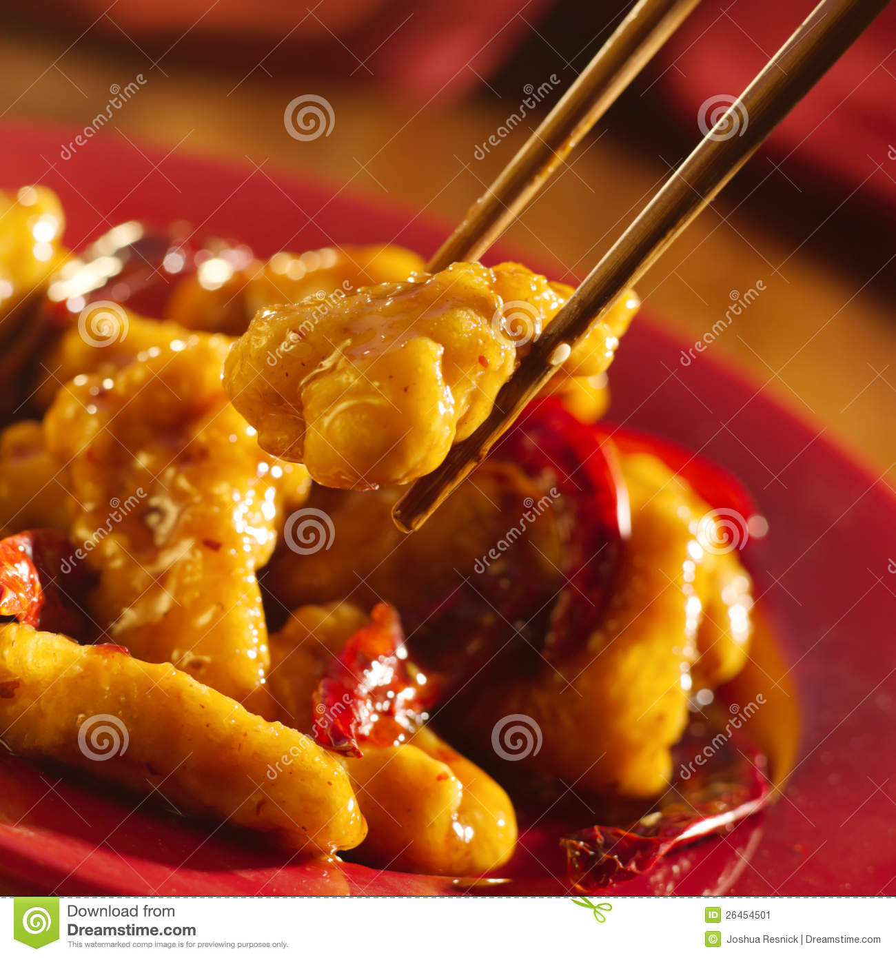 Chinese food - Eating general tso s chicken with c