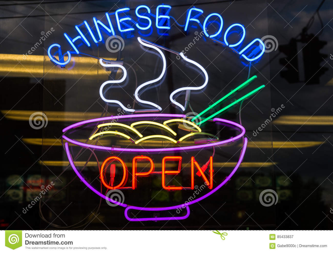 Chinese Food Restaurant Neon Sign Open Stock Image - Image of