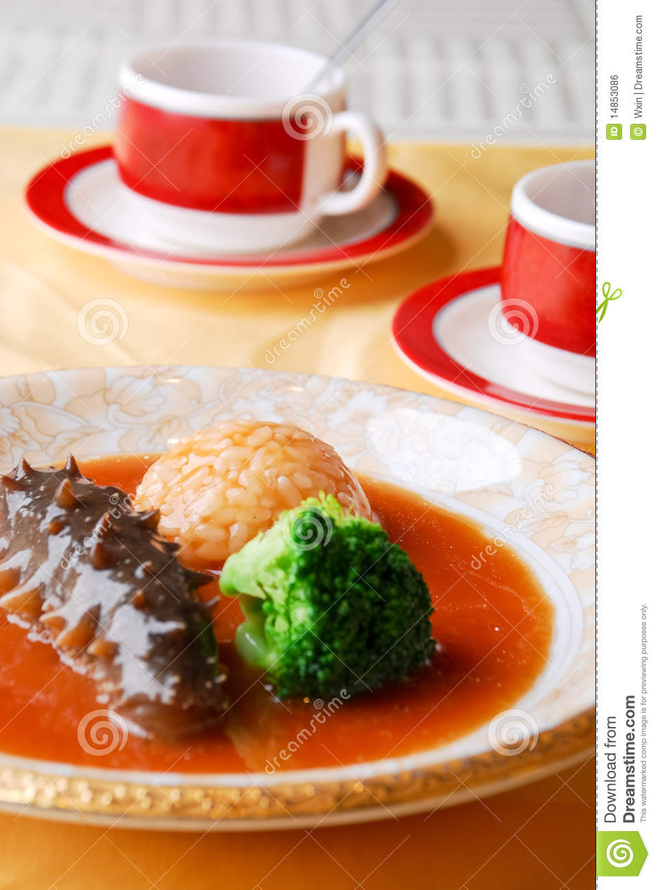 Chinese food - sea cucumber and rice