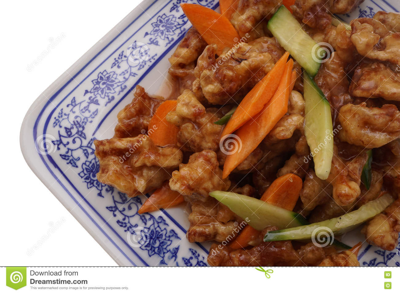 Chinese Food  Sweet And Sour Pork With Vegetables Stock