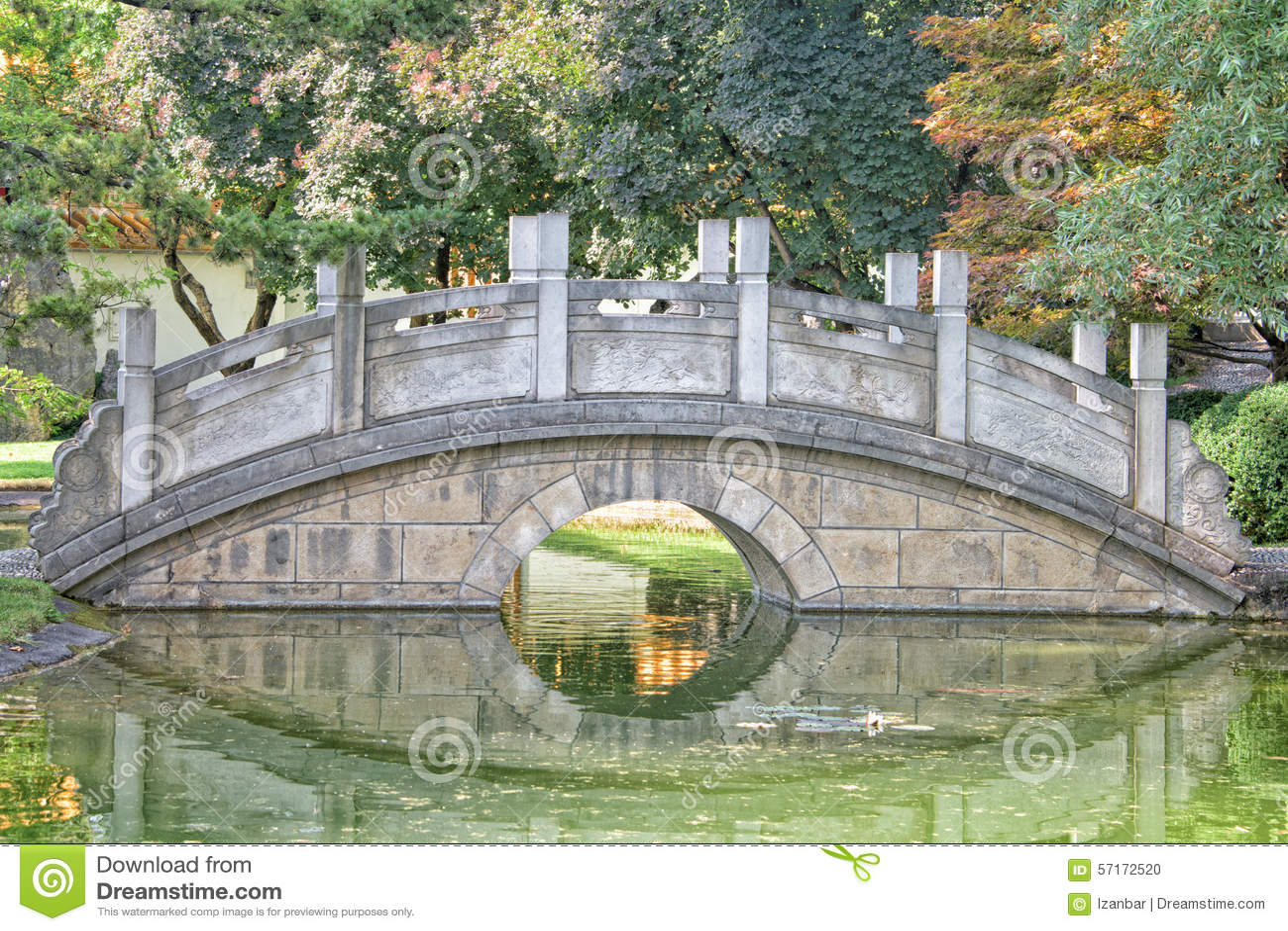 Chinese Garden Bridge Detail View Stock Photo - Image: 57172520