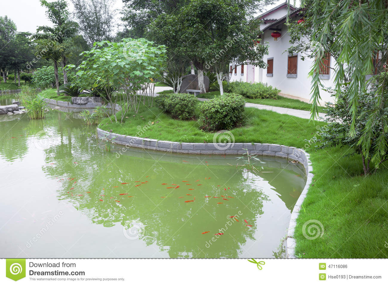 Chinese Garden With Fish Pond Stock Photo Image 47116086