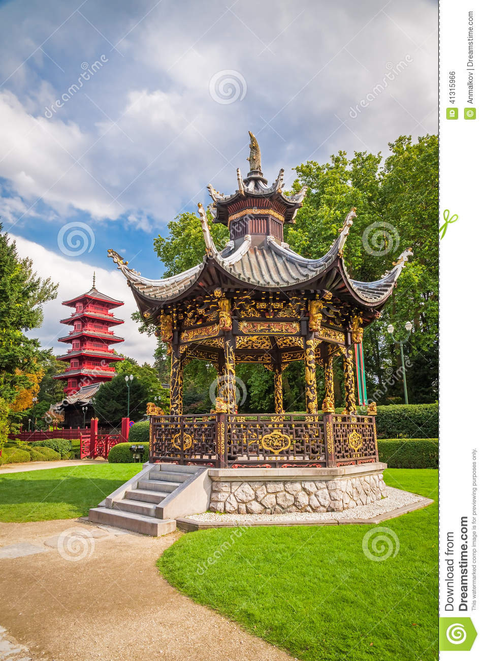 chinese garden house and tower in brussels belgium stock