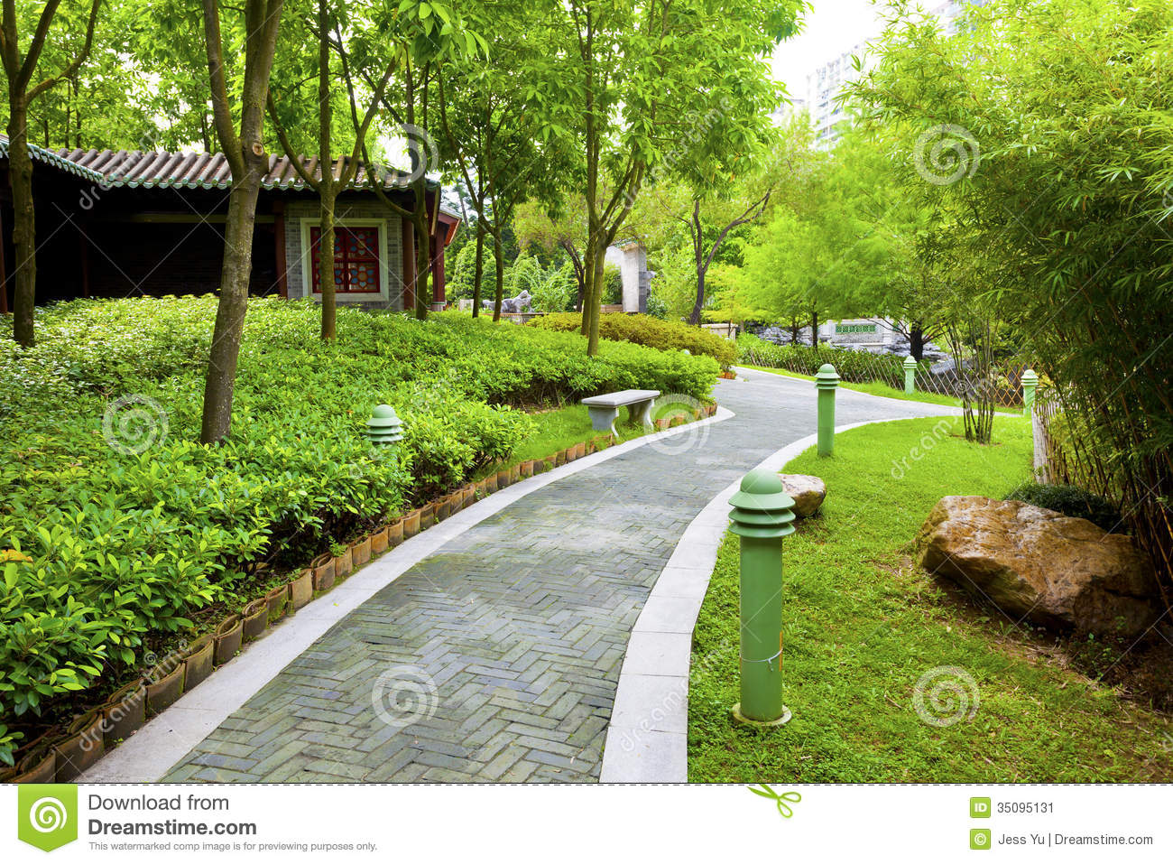 Chinese Garden With Walking Path Stock Image Image 35095131