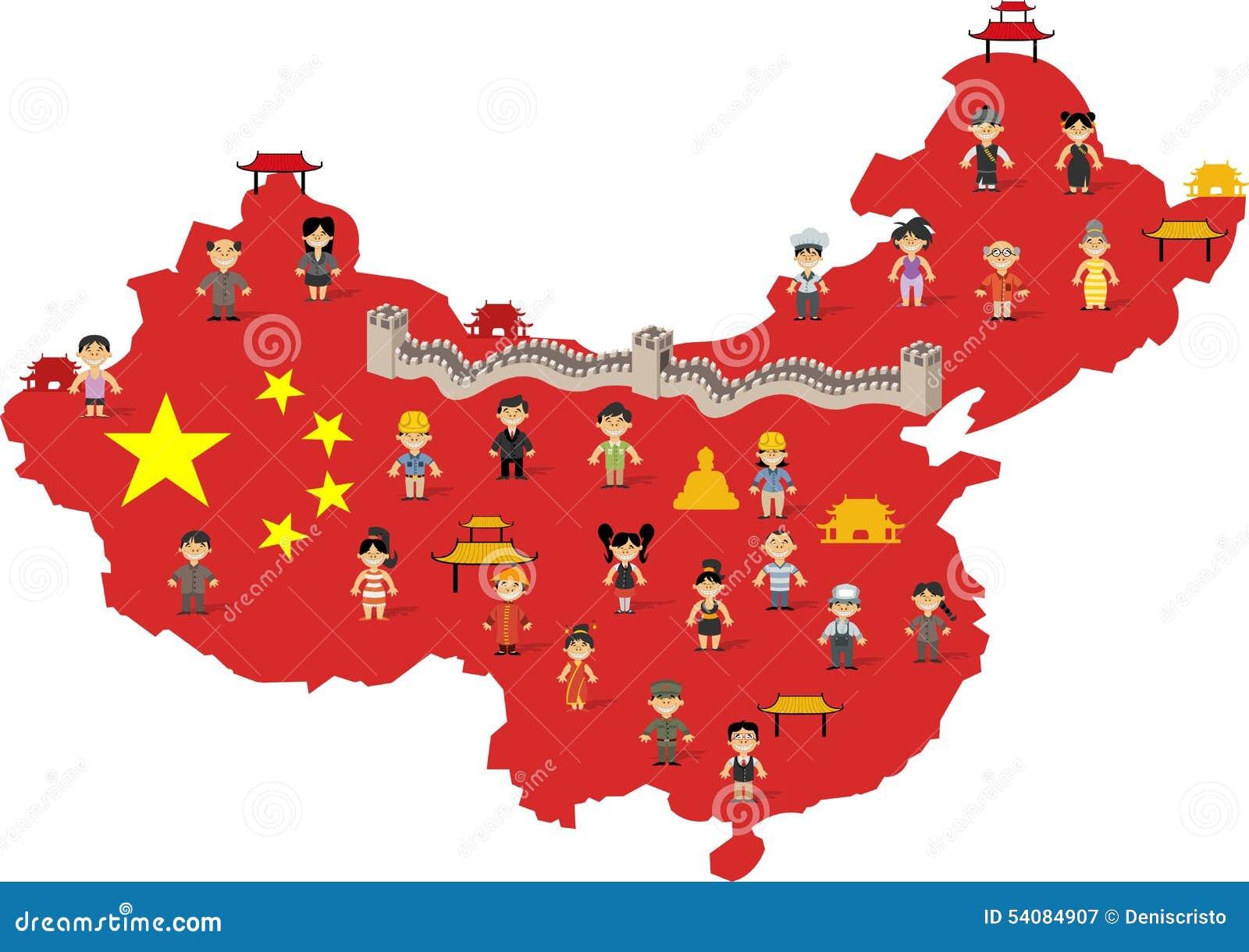 Download Chinese Gelukkige Beeldverhaalmensen Vector Illustratie - Illustratie bestaande uit azië, aziatisch: 54084907