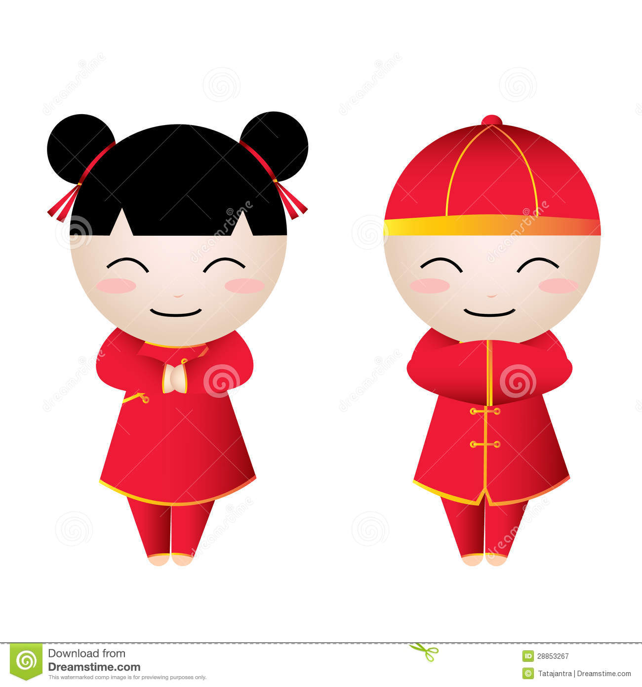 Chinese Girl-Boy Greetings stock vector. Illustration of elements ...