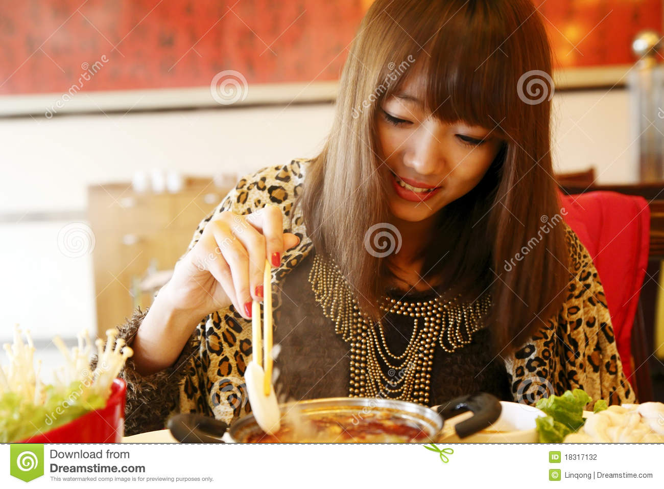 Chinese Girl Eating Hot Pot Stock Photography - Image -7193