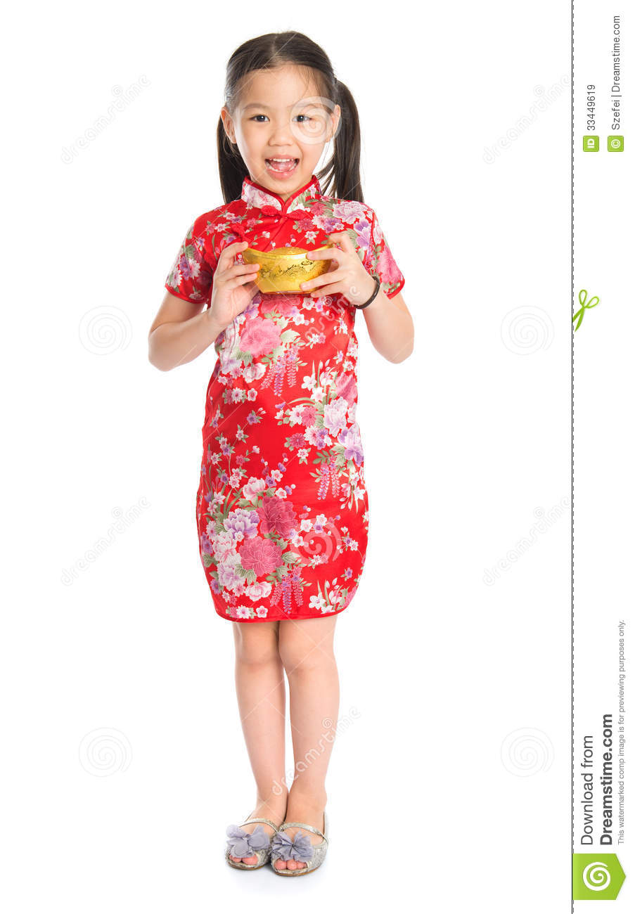 Full length China girl in traditional Chinese cheongsam dress greeting ...