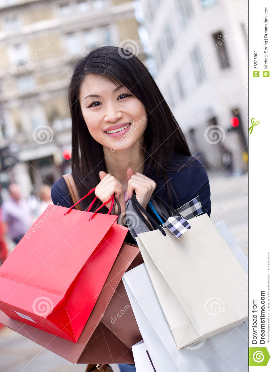 Chinese girl shopping stock photo image 56536808 for Shopping in cina