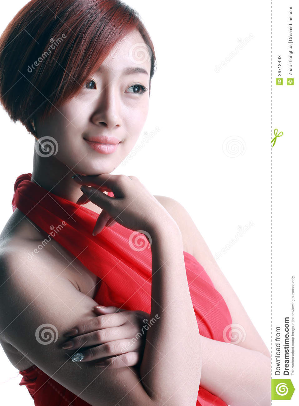 Chinese girl wearing a red dress royalty free stock photos image