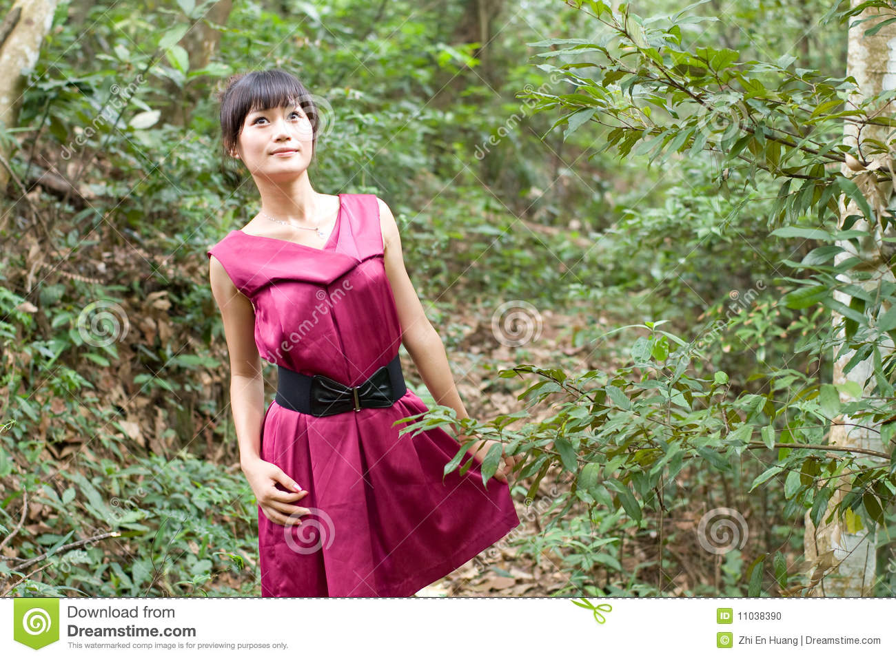 Chinese girl in the wood