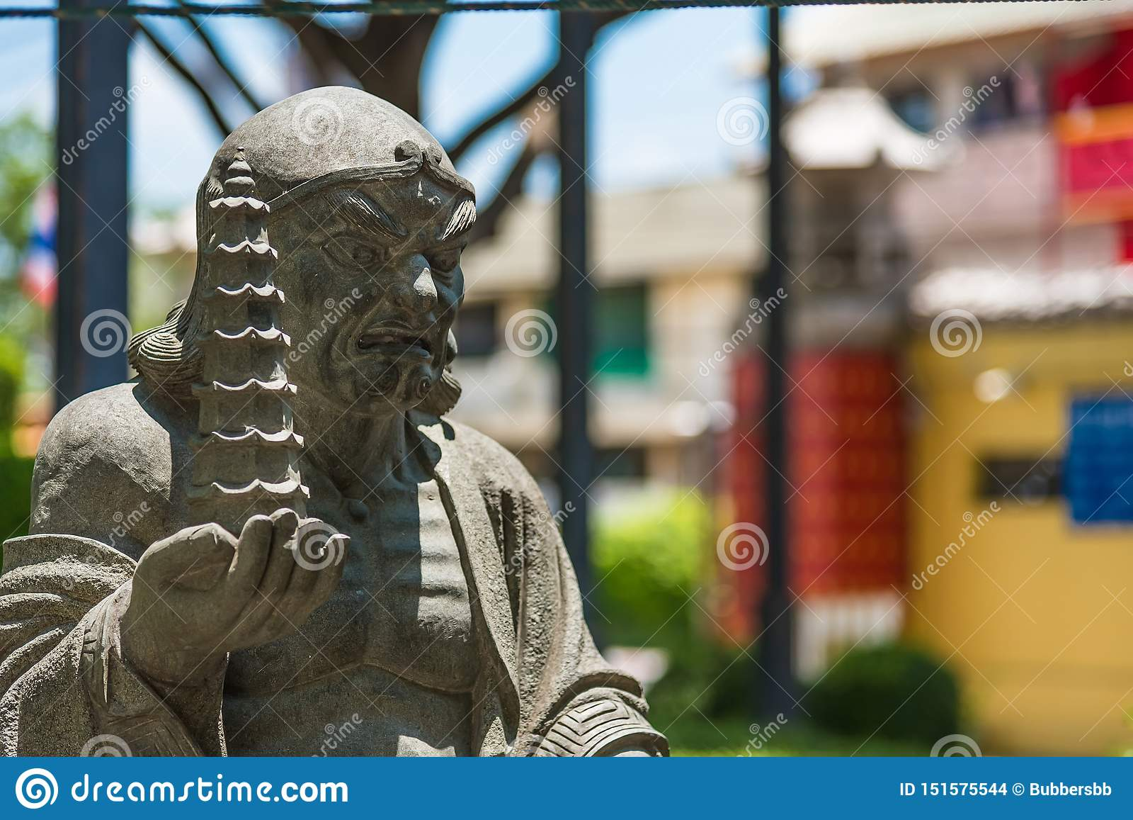 Chinese god statue of Wat Borom Racha Kanchanapisek Anusorn& x28;Leng nuei Yee Branch 2& x29;,A popular Chinese temple to merit