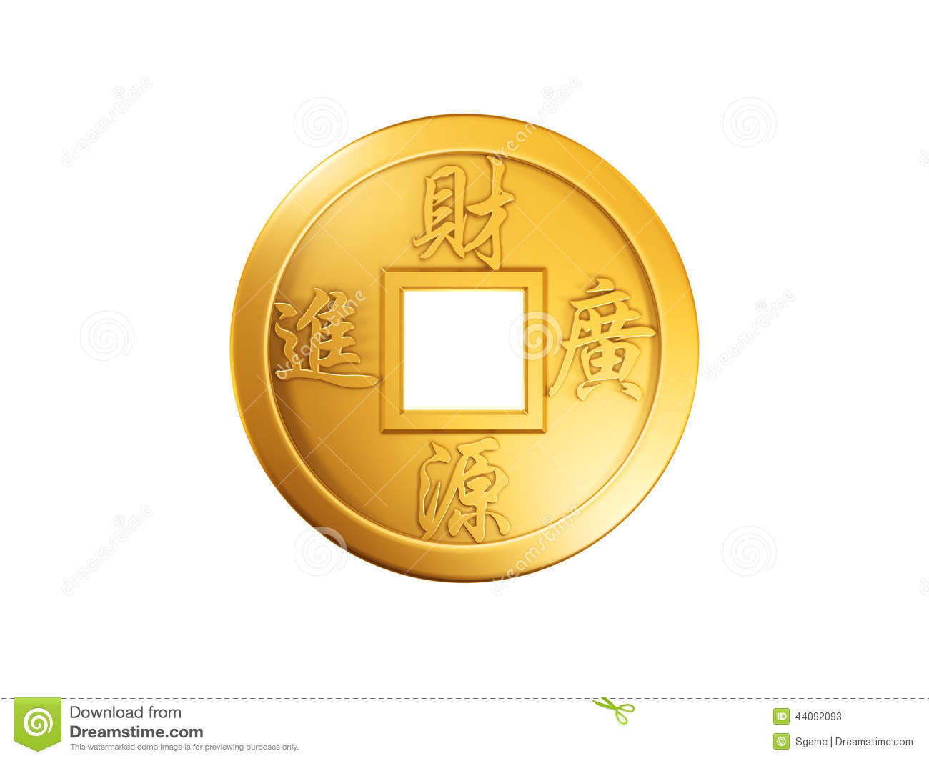 Chinese gold coin stock illustration  Illustration of gold