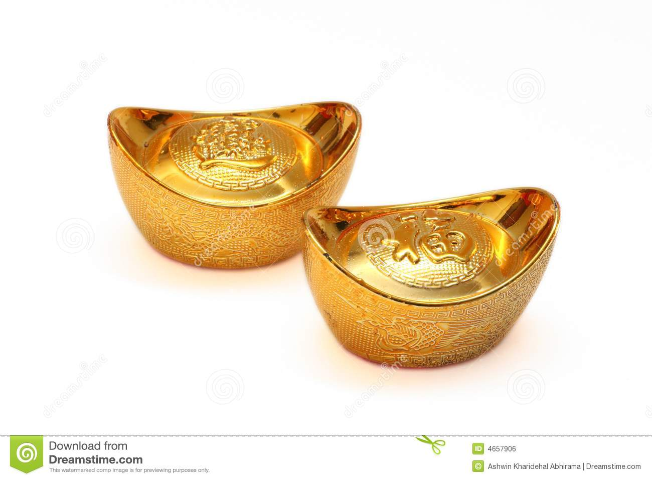 Chinese gold ingots stock photo  Image of decoration, rich