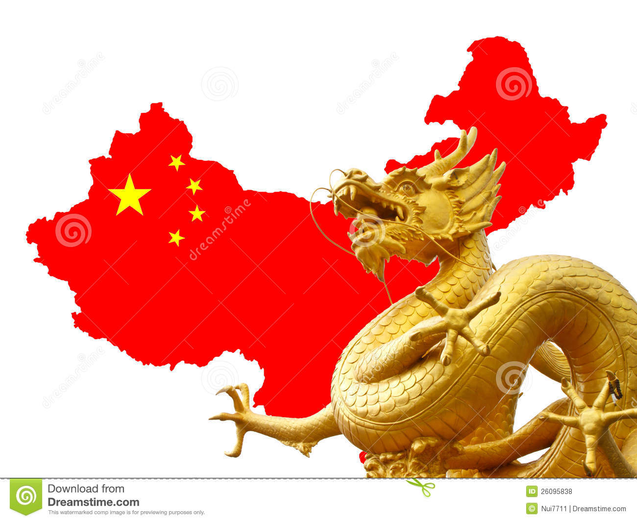 Chinese Golden Dragon And China Map Royalty Free Stock