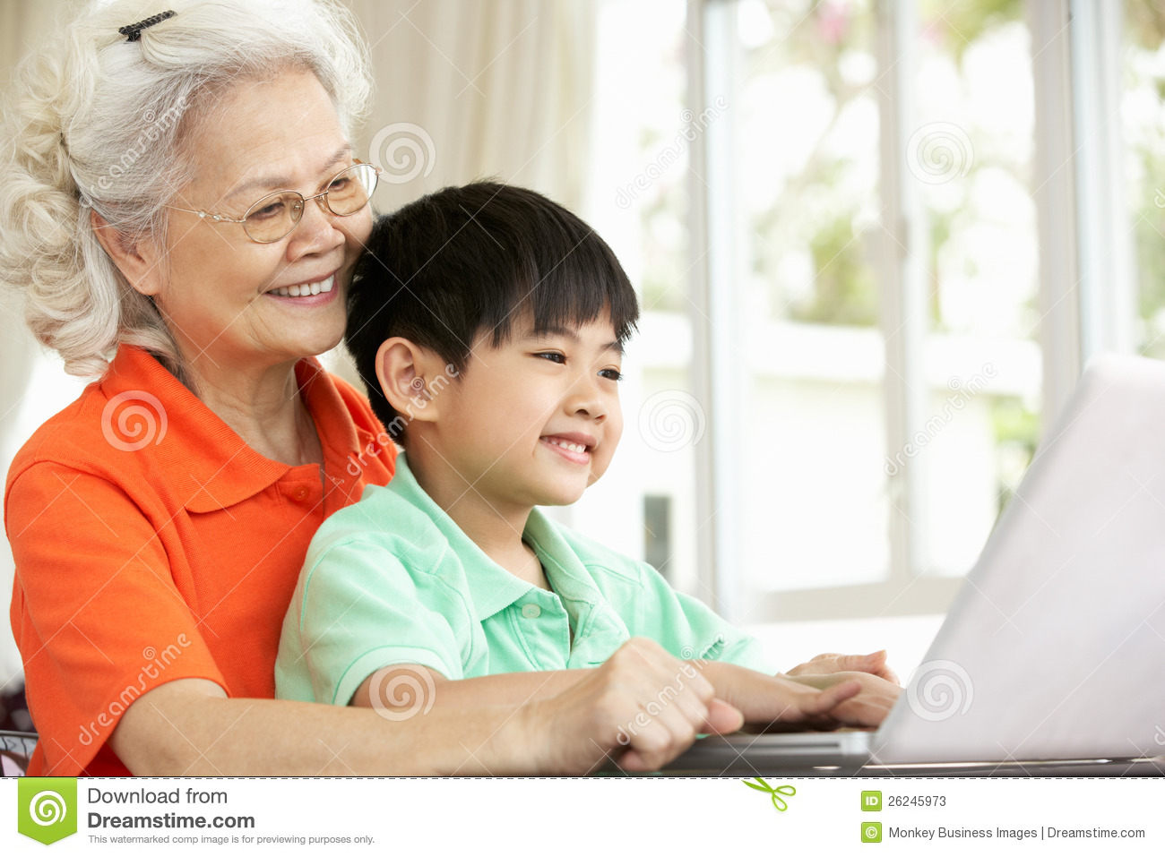 Chinese Grandmother And Grandson Using Laptop Stock Photos - Image ...
