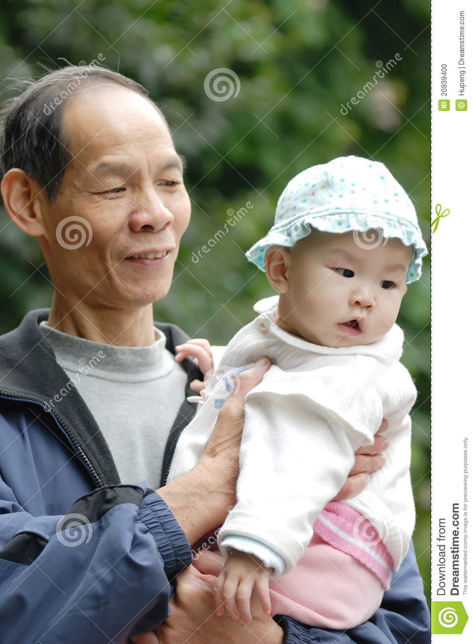 Chinese Grandpa And Baby Stock Photo Image Of Active