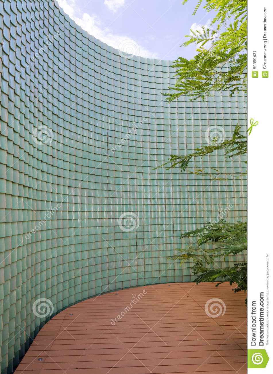 Chinese Green Glazed Tile Wall In The Garden Stock Image - Image of ...