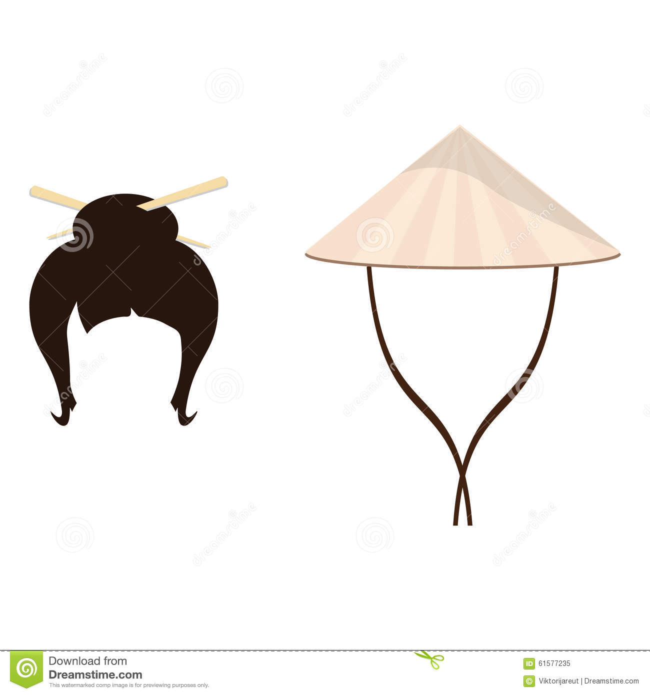 Chinese Hat And Geisha Hair Style Stock Illustration