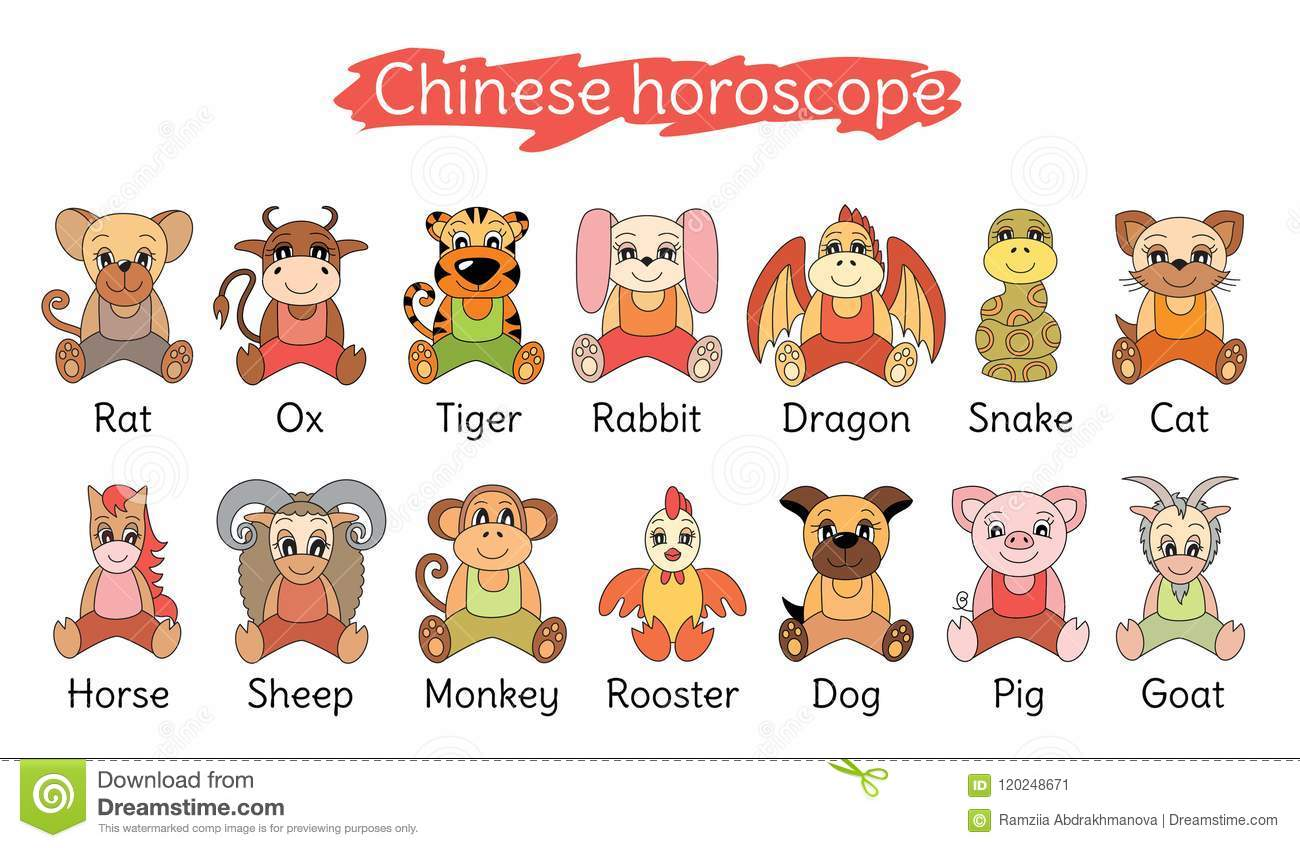 Chinese Horoscope Collection Zodiac Sign Set Pig Rat Ox Tiger Cat Stock Vector Illustration Of Collection 2021 120248671