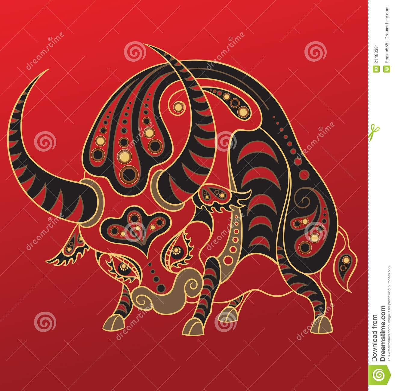 chinese horoscope year of the ox stock image image 21483381. Black Bedroom Furniture Sets. Home Design Ideas