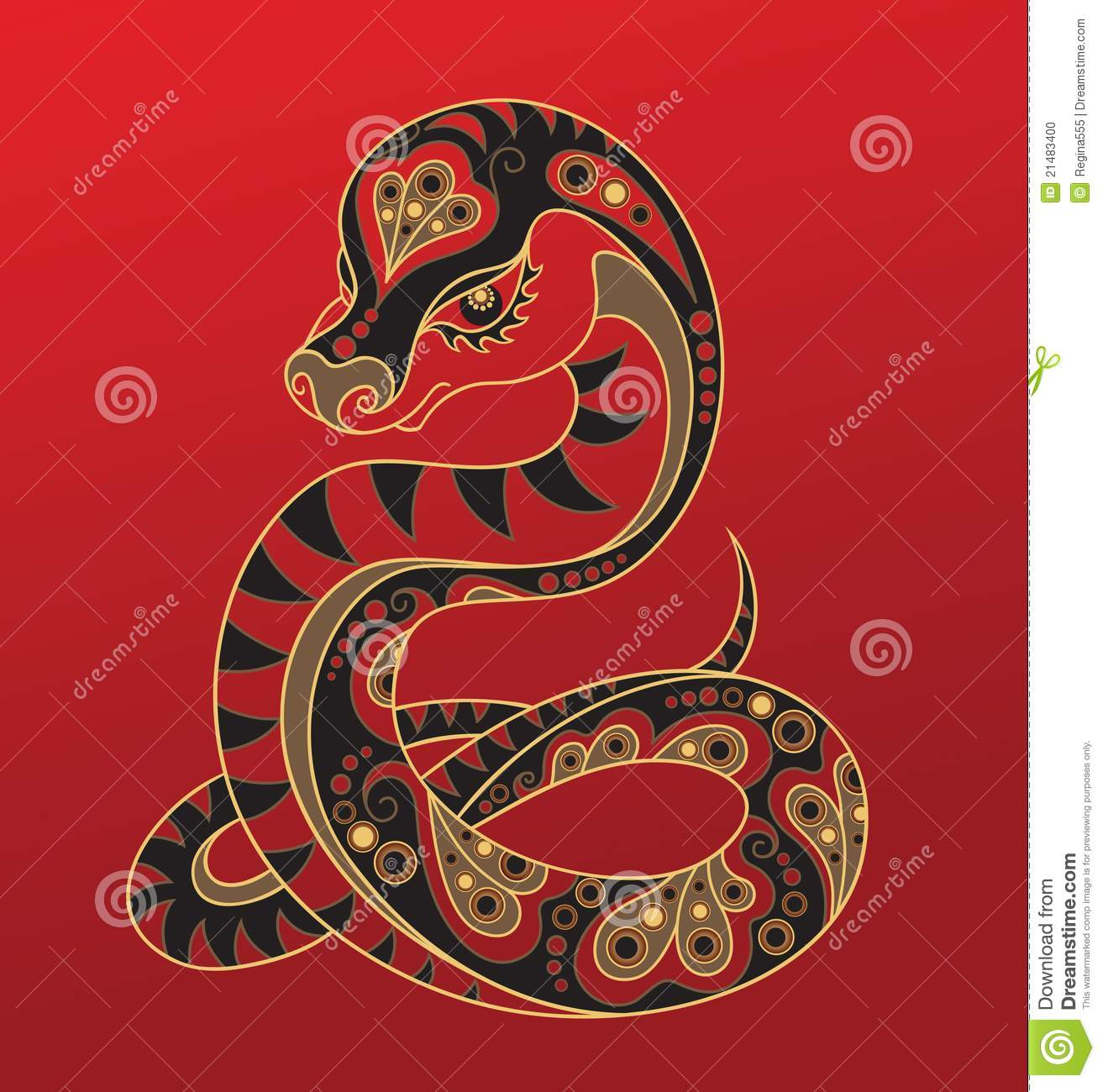 Chinese Horoscope. Year Of The Snake Stock Vector ...