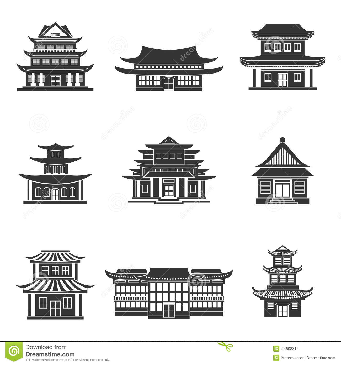 House Plans Design Your Own Free Chinese House Icons Black Stock Vector Image 44608319