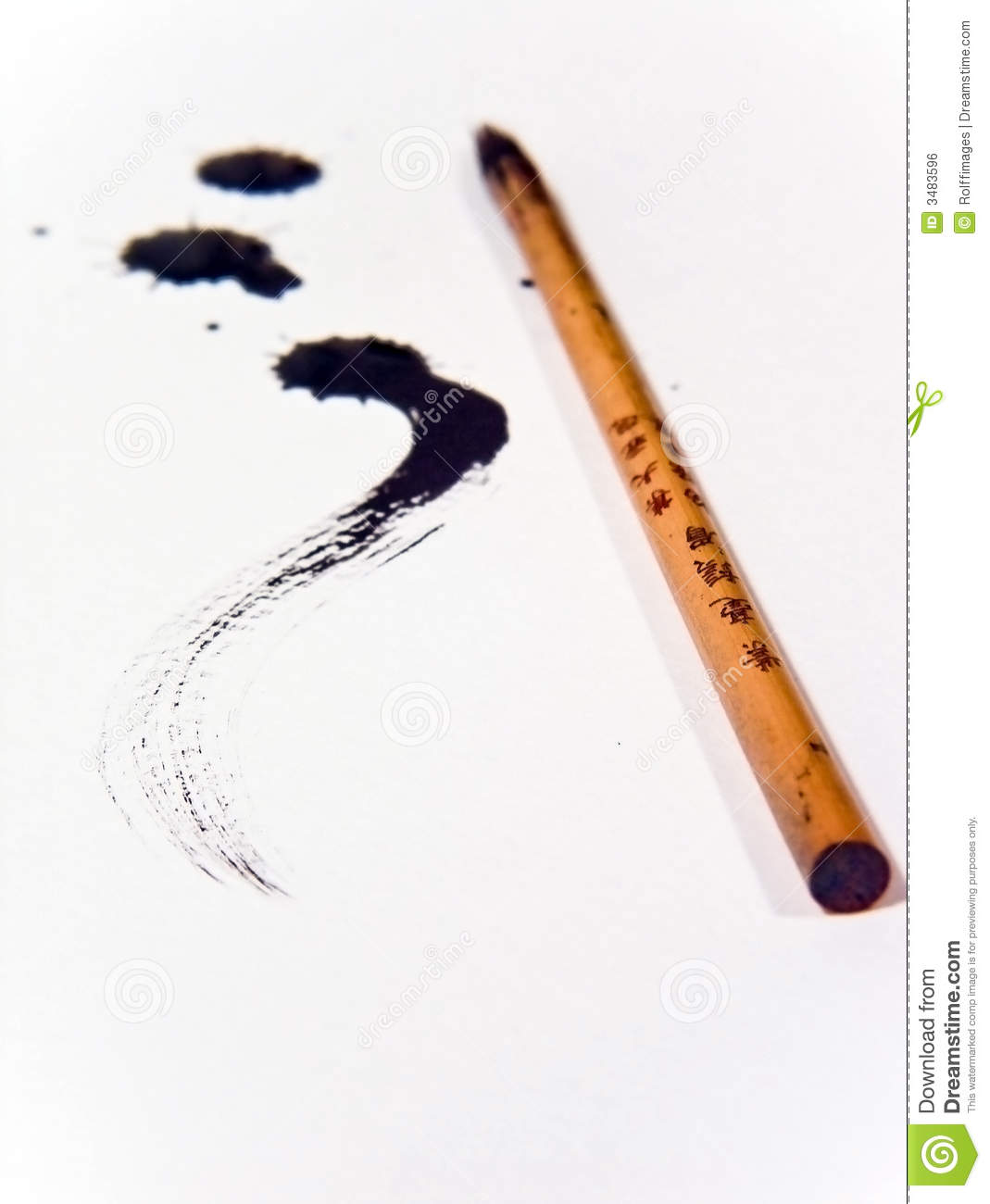 Chinese Ink Brush Royalty Free Stock Image - Image: 3483596