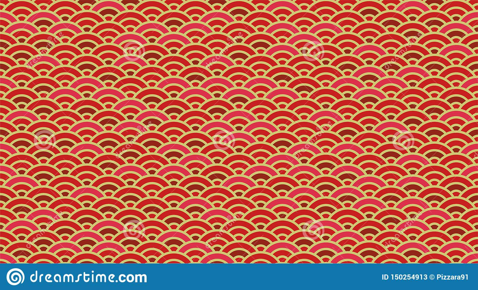 Chinese And Japanese Wave Seamless Wallpaper Stock Vector
