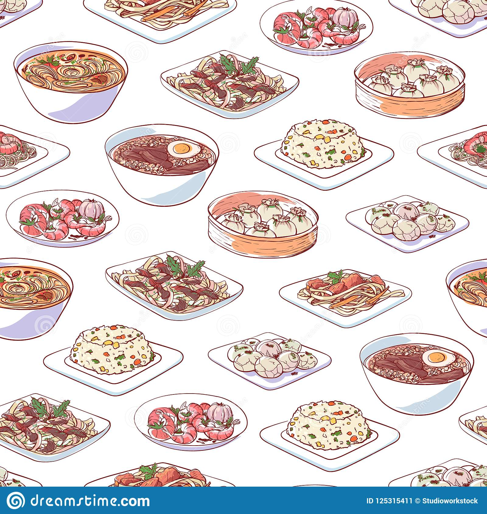 Chinese keukenschotels op witte achtergrond