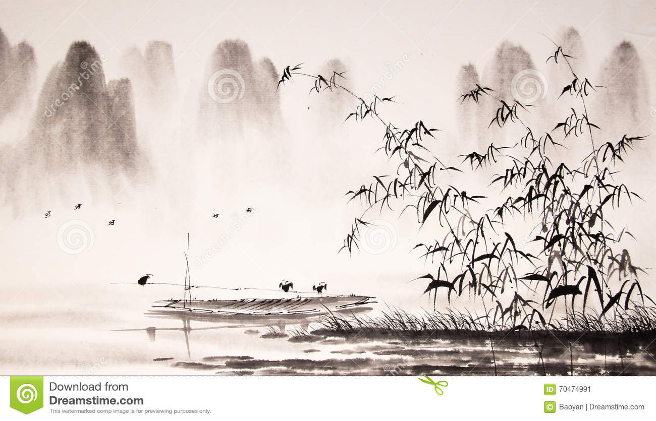 Chinese landscape ink painting stock illustration image for Mural de chine