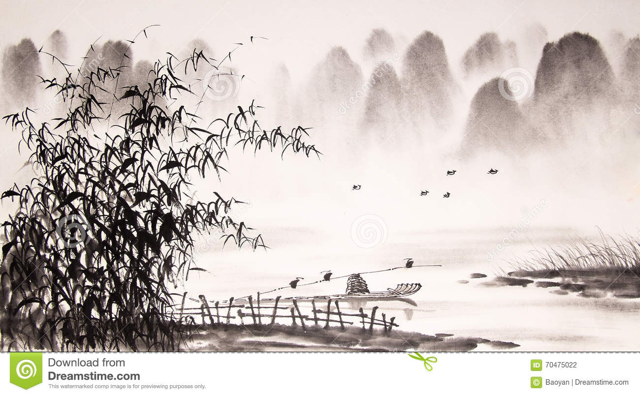 Chinese landscape ink painting stock illustration for Mural de chine