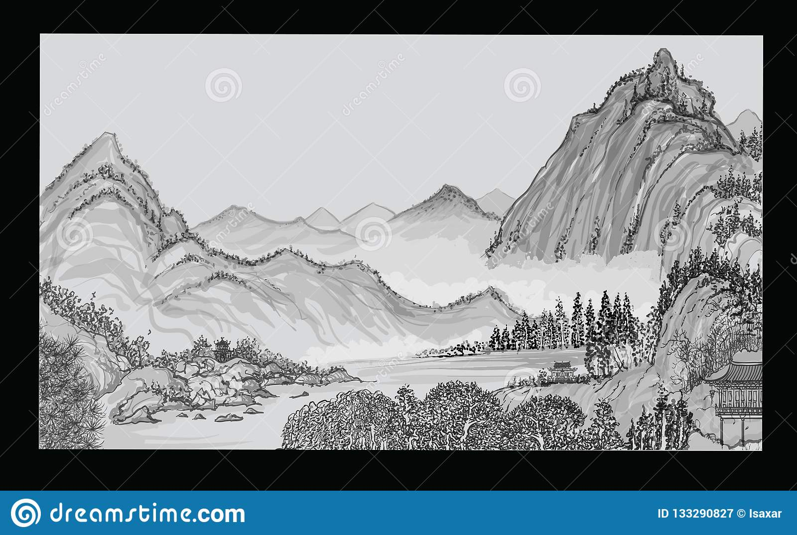 21b2e7109 Chinese landscape with mountain and clouds in the style of old chinese  painting - vector illustration