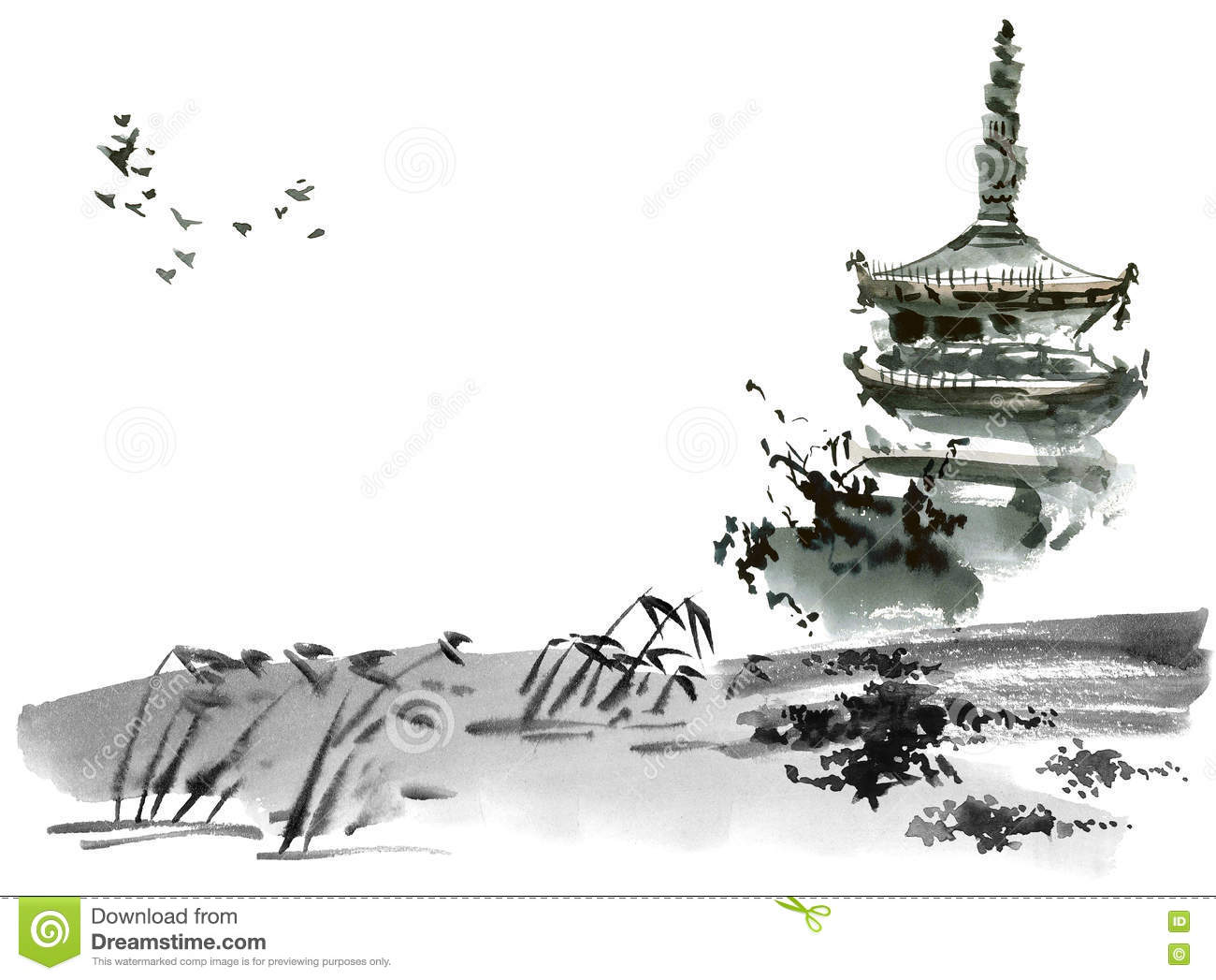 Chinese Landscape With Pagoda Sumi E U Sin Gohua Style